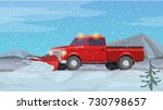 vector illustration red pickup... | Shutterstock .eps vector #730798657