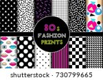cute set of 80's style... | Shutterstock .eps vector #730799665