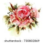 red watercolor  roses  isolated ... | Shutterstock . vector #730802869