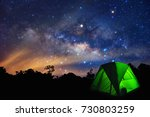 milky way with stars and tent... | Shutterstock . vector #730803259