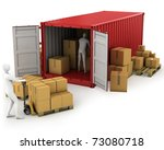 two workers unload container ... | Shutterstock . vector #73080718