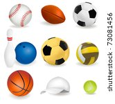 big set of sport balls and... | Shutterstock .eps vector #73081456
