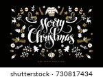 christmas postcard with hand... | Shutterstock .eps vector #730817434