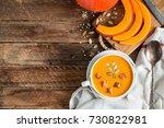 pumpkin soup puree | Shutterstock . vector #730822981