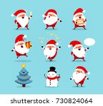 collection of christmas santa... | Shutterstock .eps vector #730824064