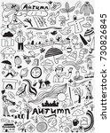 autumn doodle set   hand drawn... | Shutterstock .eps vector #730826845