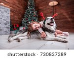 beautiful child girl play with... | Shutterstock . vector #730827289