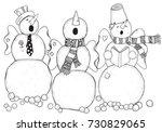 cheerful snowmen sing songs .... | Shutterstock .eps vector #730829065