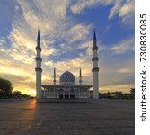 Small photo of beautiful scenery of sunset at Sultan Salahuddin Abd Aziz Shah Mosque, Shah Alam