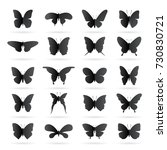 vector group of black butterfly ... | Shutterstock .eps vector #730830721
