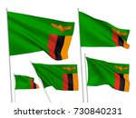 zambia vector flags set. 5 wavy ...   Shutterstock .eps vector #730840231