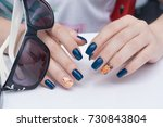 natural nails with gel polish... | Shutterstock . vector #730843804