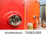 large red wine tanks in the... | Shutterstock . vector #730851085