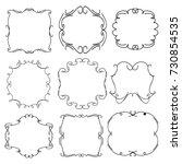 set of vector vintage frames on ... | Shutterstock .eps vector #730854535