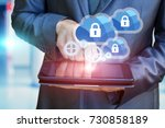 businessman configures the... | Shutterstock . vector #730858189