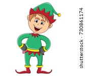 christmas elf cartoon vector... | Shutterstock .eps vector #730861174