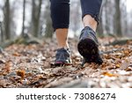 Hiking In Autumn Forest  Sport...