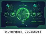radar screen and world map in... | Shutterstock .eps vector #730865065
