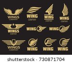 wings logo collection. golden... | Shutterstock .eps vector #730871704