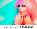 fashion model woman in colorful ... | Shutterstock . vector #730873801