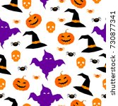 happy halloween seamless... | Shutterstock .eps vector #730877341