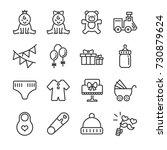 baby shower line icon set.... | Shutterstock .eps vector #730879624