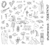 hand drawn doodle hawaii icons... | Shutterstock .eps vector #730879747