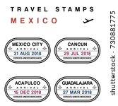 travel vector   passport stamps ... | Shutterstock .eps vector #730881775