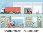 warehouse building set.... | Shutterstock .eps vector #730888489