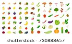 fruits and vegetables set on... | Shutterstock .eps vector #730888657