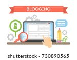 blogging concept illustration.... | Shutterstock .eps vector #730890565