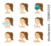 female's face care set. woman... | Shutterstock .eps vector #730891519