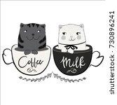 cute cat vector.t shirt print... | Shutterstock .eps vector #730896241