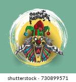 laughing angry joker head  face ... | Shutterstock .eps vector #730899571