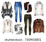 watercolor fashion illustration.... | Shutterstock . vector #730903801