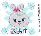 Stock vector cartoon cute rabbit girl head on light blue flower background illustration vector 730906321