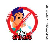 no spitting sign   vector... | Shutterstock .eps vector #730907185