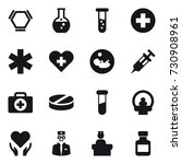 16 vector icon set   hex... | Shutterstock .eps vector #730908961