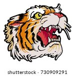 tiger head embroidery patch ... | Shutterstock .eps vector #730909291