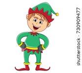 christmas elf cartoon | Shutterstock . vector #730909477