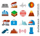 earthquake icon set. shaking or ... | Shutterstock .eps vector #730911121