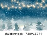 winter christmas woodland... | Shutterstock .eps vector #730918774