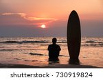 Silhouette Of Surfer Man...