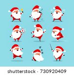 collection of christmas santa... | Shutterstock .eps vector #730920409