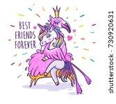 unicorn with flamingo. best...   Shutterstock .eps vector #730920631