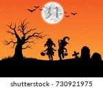 halloween background.halloween... | Shutterstock . vector #730921975