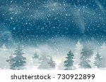winter christmas snowy woodland ... | Shutterstock . vector #730922899