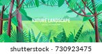 beautiful landscape with green... | Shutterstock .eps vector #730923475