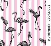 half flamingo and pineapple... | Shutterstock .eps vector #730927771