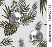 hand drawn ink skull pineapple... | Shutterstock .eps vector #730927795